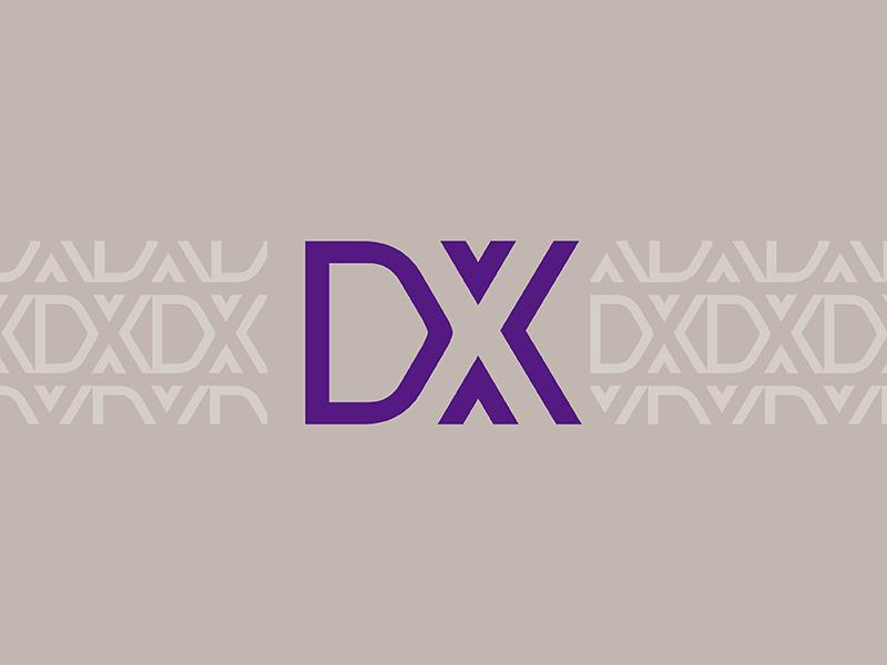 Demand X automotive app sales x d purple pattern brand logo mark icon app cars auto