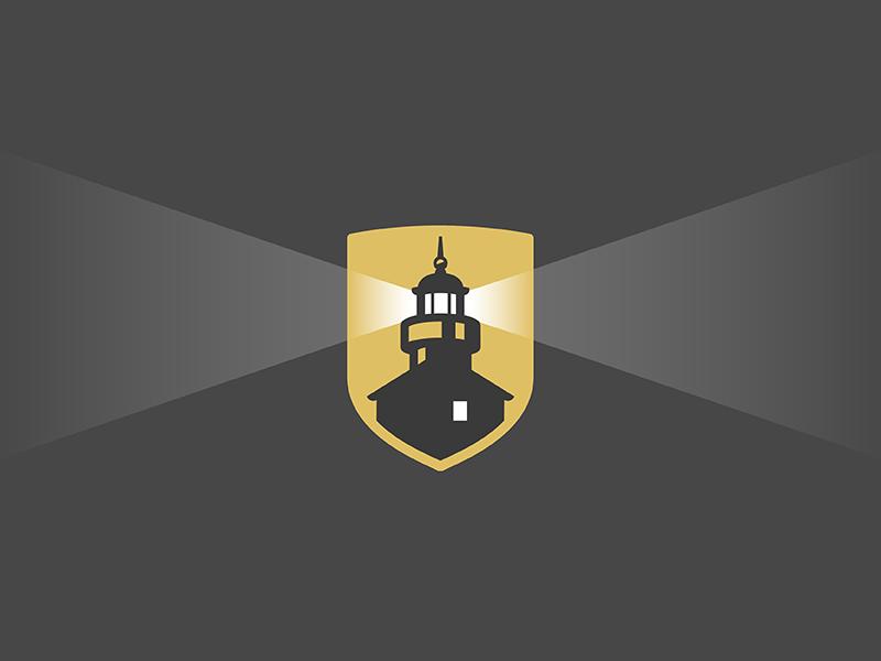 Lighthouse Shield black gold beams light identity mark badge crest logo shield lighthouse