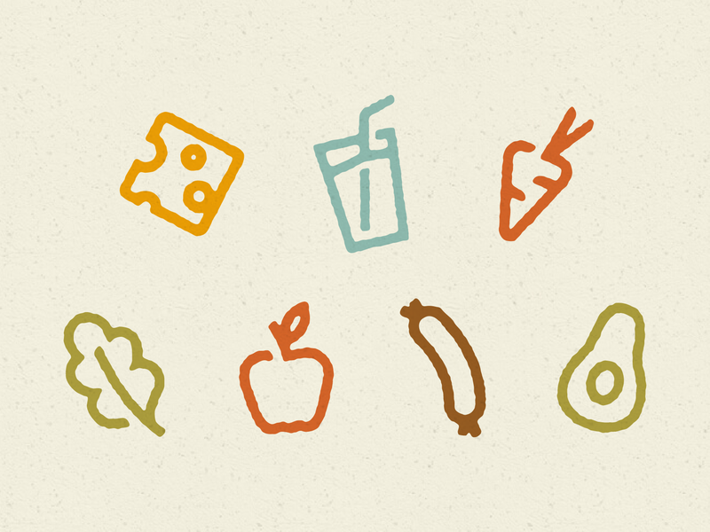 Fresh Food Icons veggies cheese apple market cafe restaurant food system icon