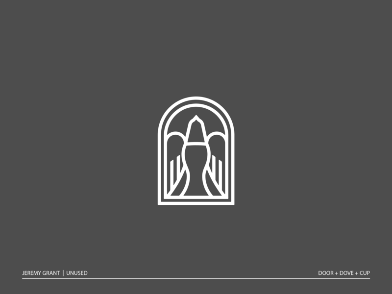 Doorway to heaven icon design tattoo symbol illustration branding brand mark logo church stained glass cup dove door