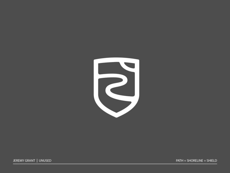 Costal Crest nature pathway beach shoreline icon monoline branding brand badge mark logo crest shield coast