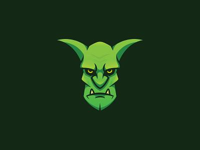 Gobiln green vector illustration design character mascot goblin