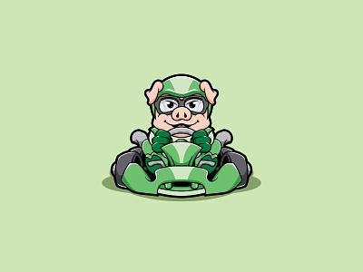 Pig Racer design mascot character playful funny car racing racer kart cartoon pig