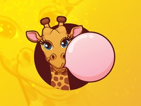 Giraffe with a bubble gum