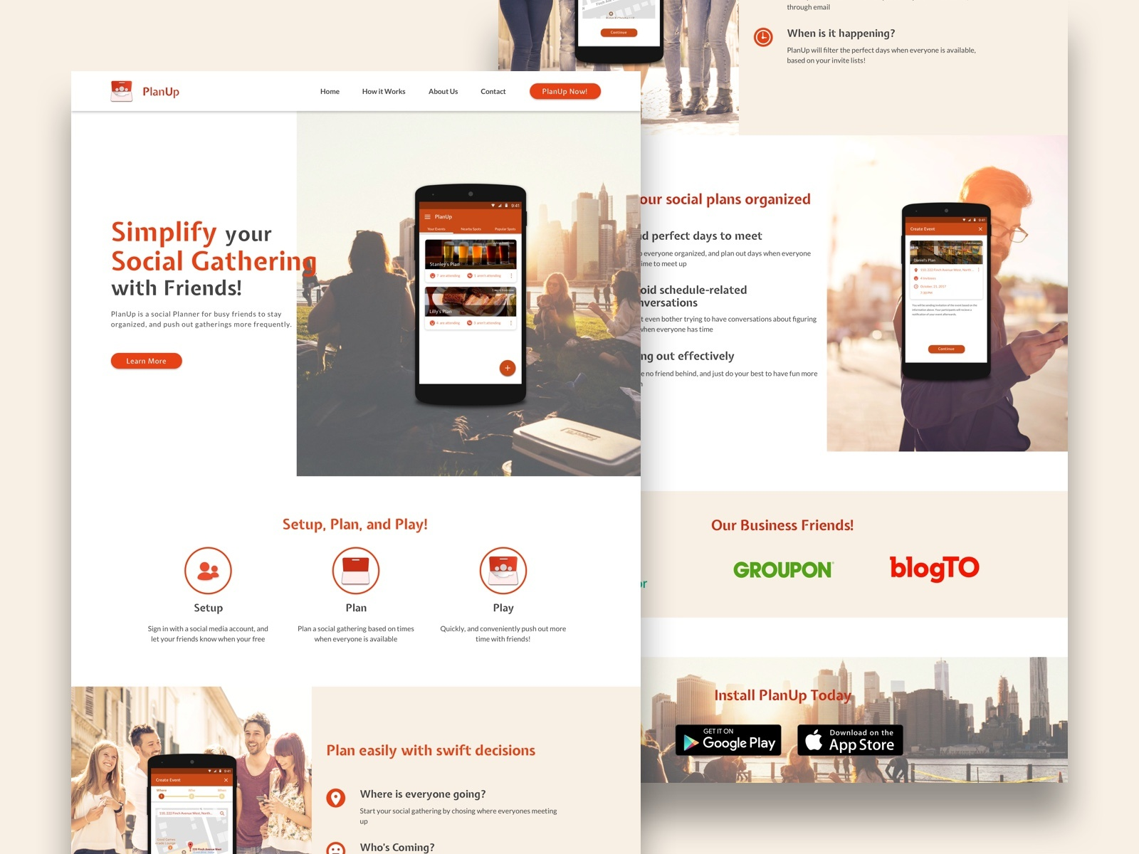 Planup   landing page