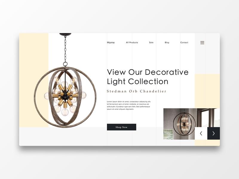 Lamp product lights light bulb light chandelier lamp flat elegant web design website hero page web ux ui design concept
