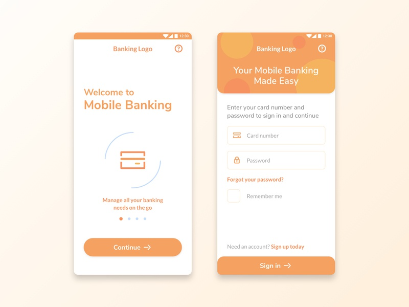 Banking App 1 ux ui sign up sign in register mobile ui mobile design mobile app mobile log in flat app designer concept banking app banking app design app android