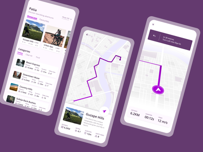 Patia - Route discovery and navigation for bikers fitness exercise bike product design discovery map navigation map navigation biking mobile design ux ui