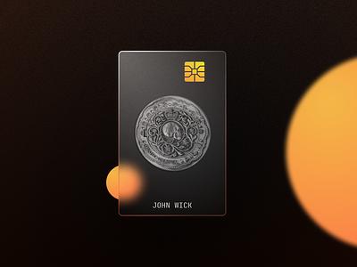 John Wick's Glass Debit/Credit Card payment method payment debit card creditcard gold fintech fintech branding john wick concept design concept