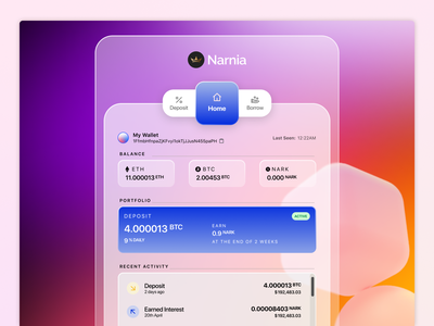 Narnia - Crypto lending and borrowing platform (sneak peek) narnia dogecoin bitcoin ethereum blockchain crypto wallet crypto exchange cryptocurrency fintech dashboard webapp branding ux design interaction design product design ui