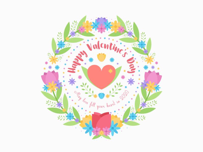 Happy Valentine's Day illustration flat design flat heart leaves leaf pretty floral flowers rose tulip valentine petal flower love