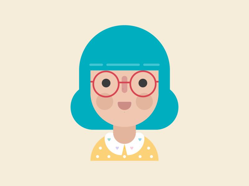 Current Hair Colour glasses beauty fashion hair turquoise flat design flat kawaii cute person avatar