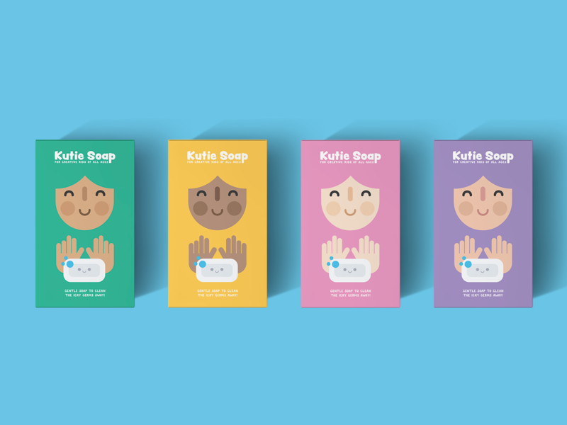 Kutie Soap color colour face hands minimal simple flat kawaii cute children kids soapbox designprompt label mockup packaging soap