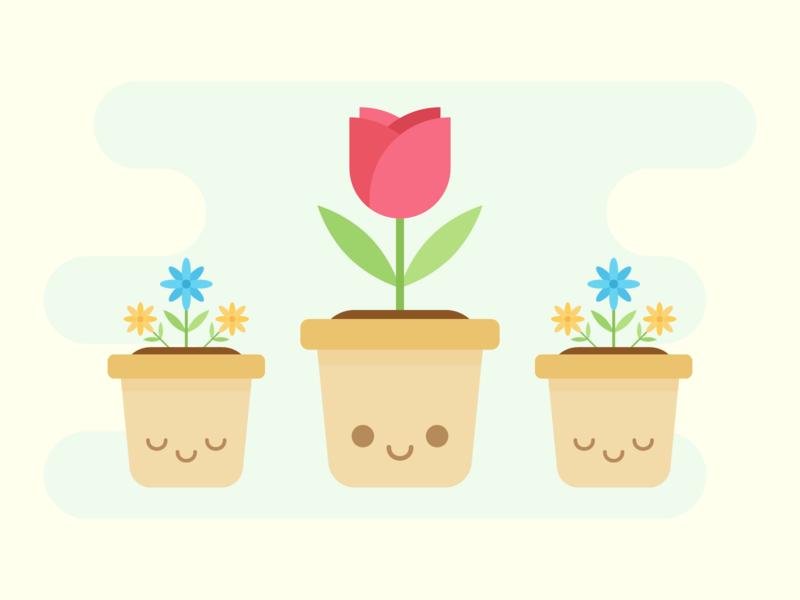 Virtual Garden happy smile petal rose flower garden kawaii cute
