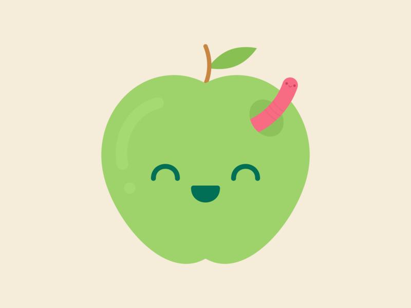 Apple & Worm illustration positive fruit health smile happy worm apple flat vector digital kawaii cute