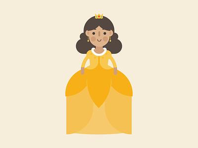 Princess gown crown fairytale flatdesign flat vector digital princess kawaii cute