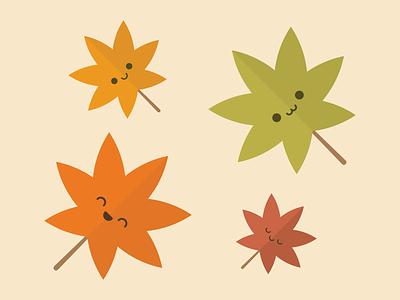 The Changing Hues of Autumn prompt autumn falling nature kawaii cute flat digital leaves leaf
