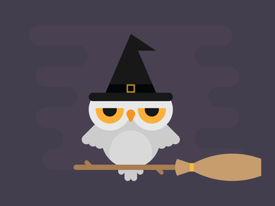 Witchy Owl hoot broom stick broomstick witches hat broom flat spooky witch halloween owl