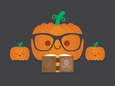 Spooky Stories jack o lantern pumpkin halloween illustration kawaii cute