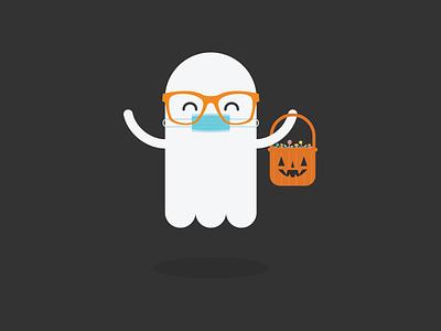 Happy Halloween 2020 ghost trick or treat treat candy mask halloween illustration kawaii cute