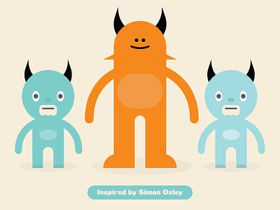 Inspired by Simon Oxley monster flat vector illustration homage inspiration simon oxley kawaii cute