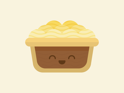 Potato Meat Pie food flat kawaii cute potato pie potato meat pie meat pie illustration