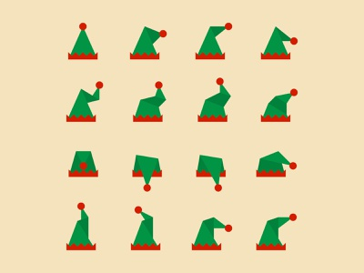 Elf Hats xmas geometric vector christmas illustration