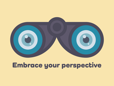 Embrace your perspective schizophrenia aspergers mental health weekly warm-up prompt perspective view binoculars vector illustration