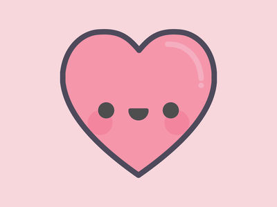 Love Heart smile happy valentine love heart digital flat vector illustration kawaii cute