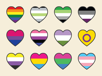 Pride Hearts lgbtq polysexual pansexual lgbt genderfluid aromantic asexual agender transgender bisexual gay sexuality gender rights equality love lesbian heart rainbow pride
