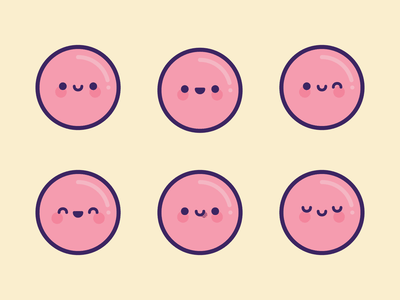 Pink Bubble Emoji telegram stickers discord emoticon smiley emote emoji illustration kawaii cute