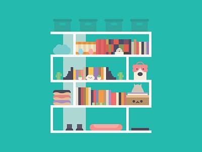 My Bookshelf still life weeklywarmup flat design flat vector