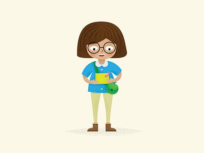 Penelope's Book Adventure book worm girl children vector kawaii cute illustration