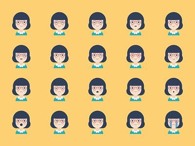 Avatar Update (Maybe) weekly warmup prompt emoji emote glasses female girl avatar flat vector illustration kawaii cute