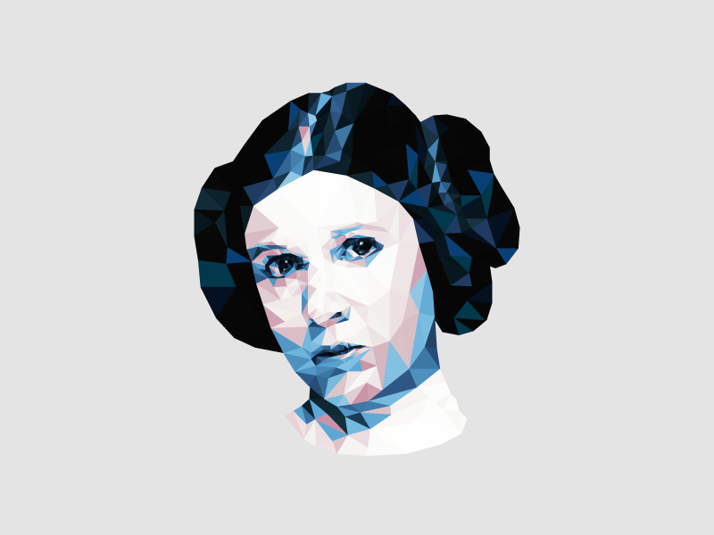 RIP Carrie Fisher low poly geometric tribute carrie fisher