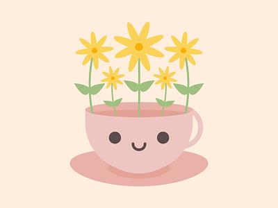 Flower Teacup kawaii cute flower teacup cup tea vector illustration