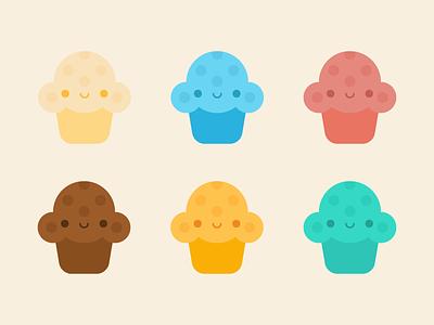 Cute Kawaii Muffins muffin flat vector illustration kawaii cute