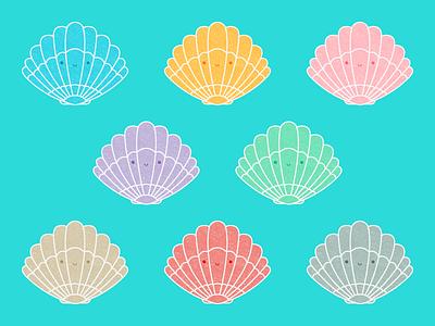 Seashells seashell ocean sea vector illustration kawaii cute