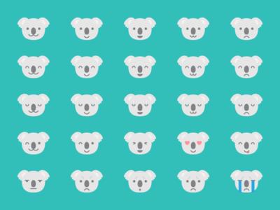 Koala Emoji emotion expression face emote emoji koala illustration kawaii cute