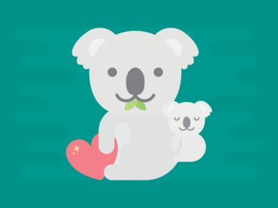 Koala Family love heart family koala kawaii cute