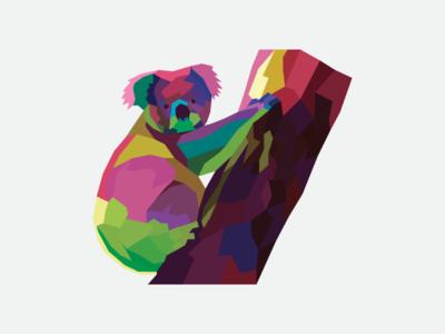 Low Poly Koala geometic low poly illustration koala