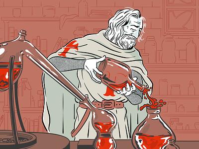 Templar Alchemy occult alchemy templar editorial illustration