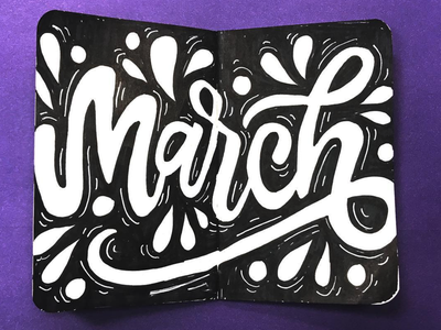 hi march, bring warm weather plz sharpie notebook field notes march designer art hand type illustration letterer graphic graphic design hand lettering type calligraphy design lettering typography