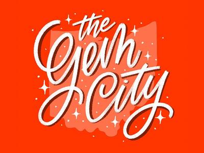 the gem city (aka dayton, oh) procreate ipad art hand type letterer illustration graphic hand lettering graphic design calligraphy type design lettering typography red gem gem city ohio dayton