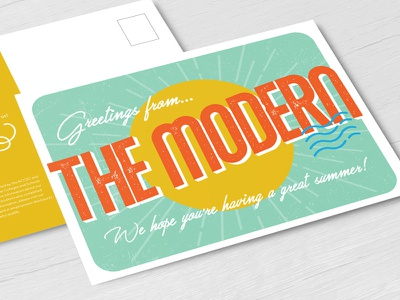 greetings from the modern! postcards print design print the modern greetings summer postcard designer art illustration graphic graphic design type design lettering typography