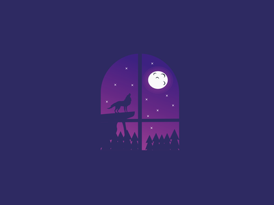 See the wolves at night from inside the window inspiration. night user intergace logo midnight wolf adobe illustration design
