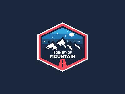 Scenery of Mountain adventure logo branding scenery mountain badge design logo badge logo sport illustration logo design