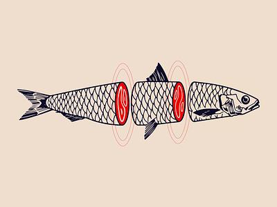 Emo Fish Tattoo marble meat drawing cut up guts tattoo fish