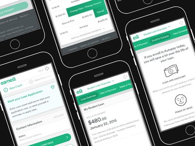 Earnest Product Work long-form steps cards form web app bank mobile
