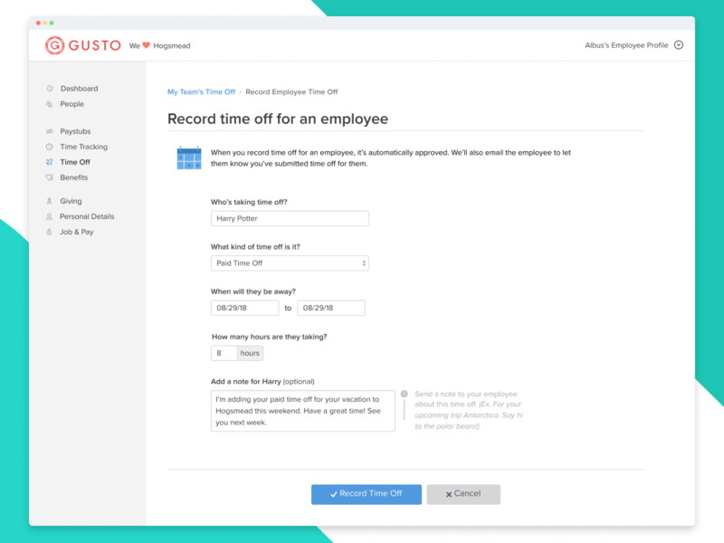 Record time off for an employee! ux ui design hr software product design app web ui ui dashboard